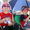 50th anniversary of Chelmsford's 4th of July celebration and parade. Caleb, 5, and brother Gavin Lafortune, 4, of Lowell. (SUN/Julia Malakie)
