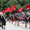 Spartan Drum & Bugle Corps of Nashua marches in the Chelmsford 4th of July parade.  (SUN/Julia Malakie)