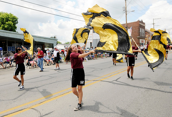Don Knight | The Herald Bulletin<br /> The Alexandria Marching Tigers march in Chesterfield's Fourth of July parade on Wednesday.