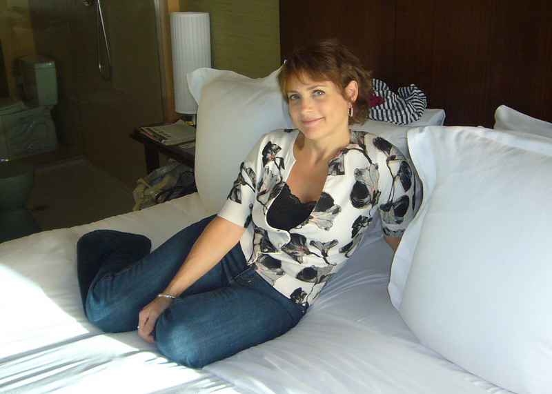 Mrs D in the fancy New Age Hotel room