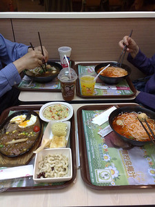 20090829_1928_870 Dinner at CSC (Country Style Cooking 乡村基). A fast-food chain which started in Chengdu. McDonald-style speed, with many meals delivered within minutes. I think every dish here costs less than 20 kuai, the noodle soup dishes are around 10 kuai. I ate here three times in three days. My parents ate here several more times!