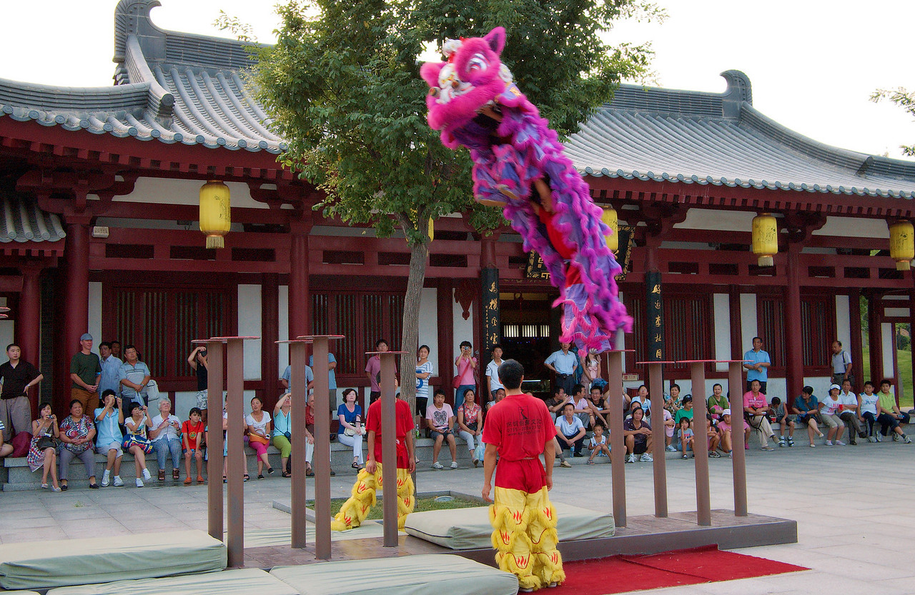 20090815_1933_2772 Lion dancers leaping from pole to pole...