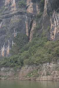 20070831_0655 Shennong Stream. One of the famous 'hanging coffins' is in a crevasse...