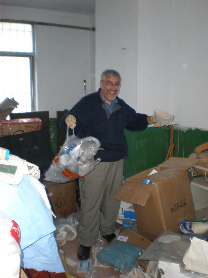 20081015 (photo taken by Brian) ...trash and treasure at the ELA storeroom in BeiGuan Hospital