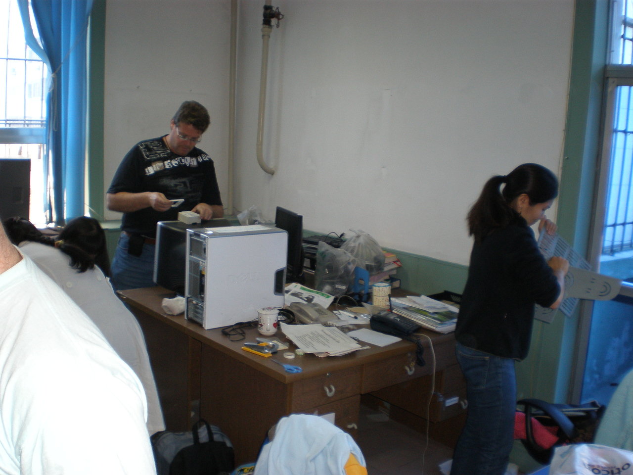 20081015 (photo taken by Richard G) packing things up at the ELA office (Beiguan Hospital)