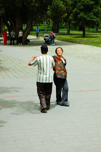 This couple were dancing all by themselves as another guy sang into a portable amplifier.