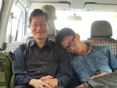 20130427_1843_6670 Journalism/media student. So excited by my eloquence and passion when answering his (approximately one) question, he needed a long nap....  On the way to a free village clinic in Fuping County, Shaanxi, China.  (time setting must be out by a few hours! this photo was taken in the morning)
