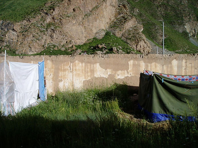 ...from our toilets (two slit trenches in the tent on the left, the male toilet. I didn't check out the female toilet, apparently it was 'surprisingly good'. which just goes to prove again that men just can't aim....)