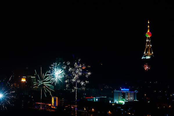 At midnight, the whole city erupts in loud explosions and flashes of light.