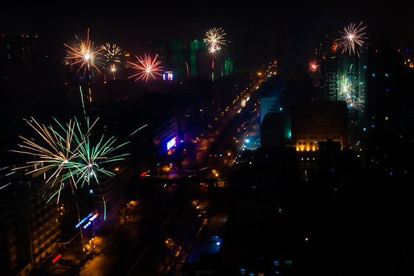 Fireworks are launched non-stop for several hours with sporadic bursts lasting for several days after.