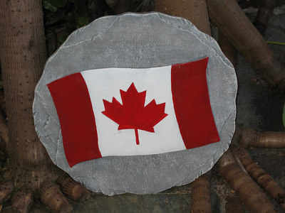 Flying the Canadian flag in the garden