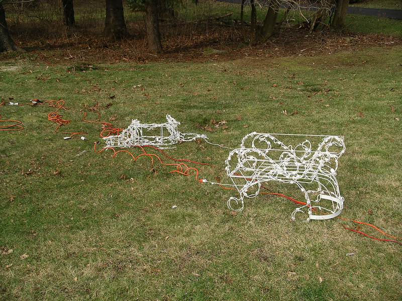 This is the wonderful result of vandals abusing our Christmas decorations.