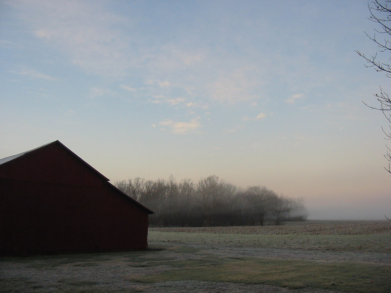 Early morng fog and frost at the farm in Vincennes, Indiana