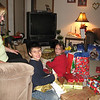 Keegan and Sydney, knee deep in presents.
