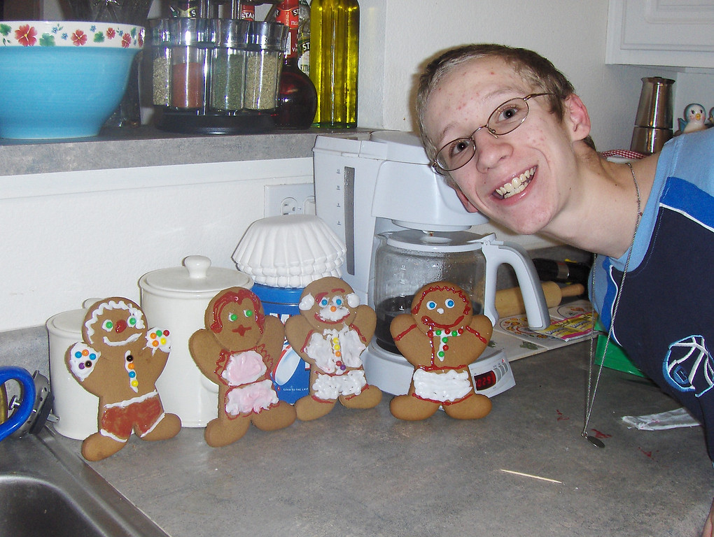 Chef Anthony makes Gingerbread Cookies - (left to right) Grampa George, Mama, Steve (notice the bald head), and Tony