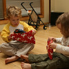 Kieran and Brenna open Christmas PJ's from Auntie Kath on Christmas Eve