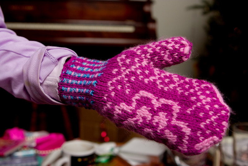 Mittens knit by Abby
