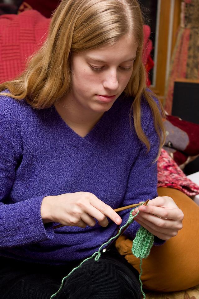 Ellie knitting.