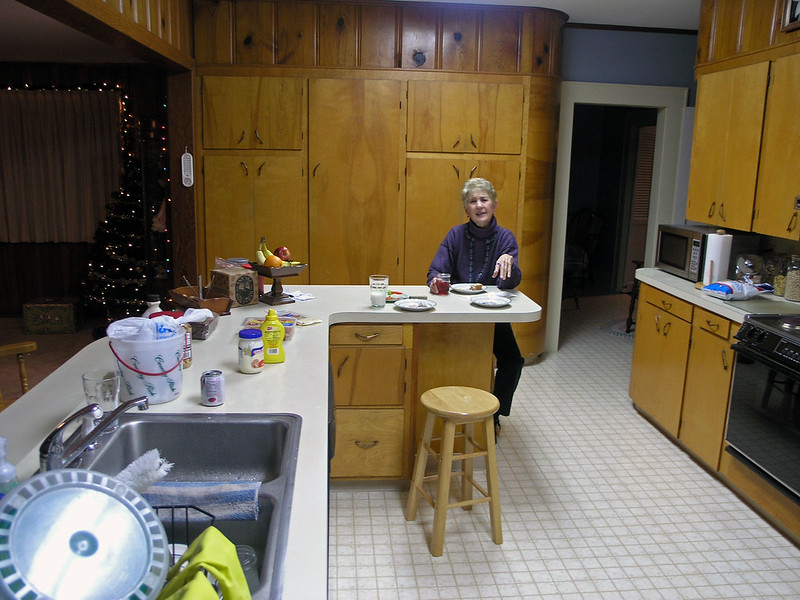 Dec 22.  Gmom takes time for breakfast and fusses because I took her picture.