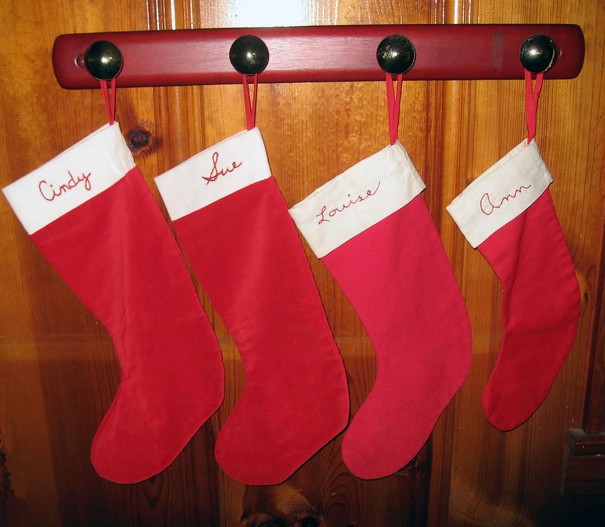 Dec 23.  Mom put up the girls' Christmas stockings.