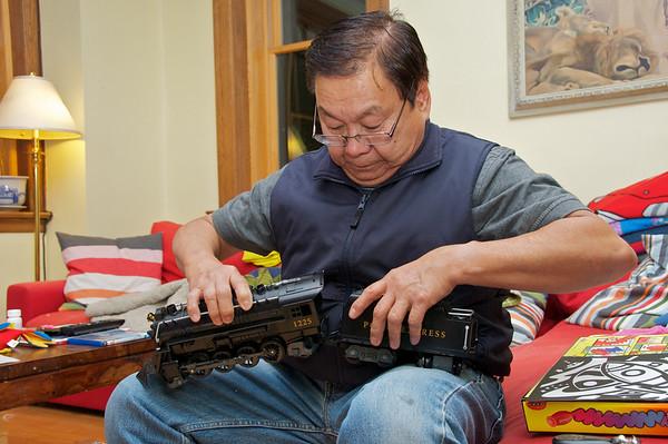 Grandpa Artos assembling the Polar Express Train.
