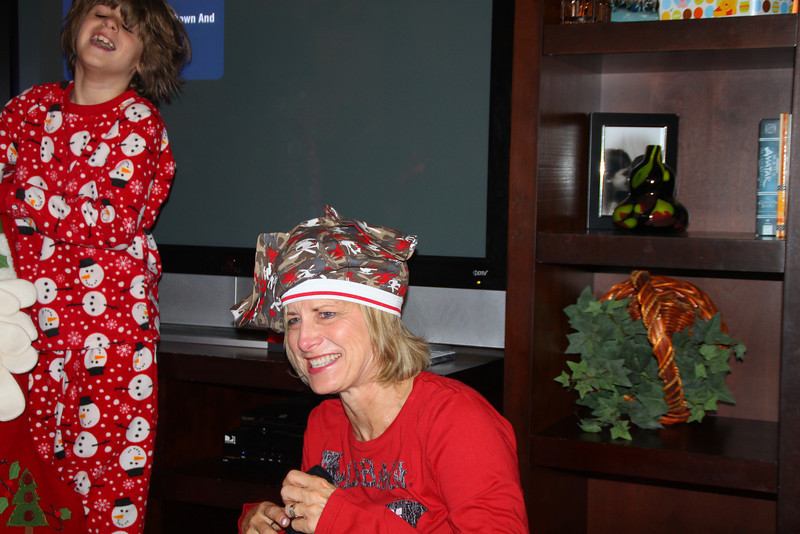 Yes, that is Zach's underwear on Nanny's head!