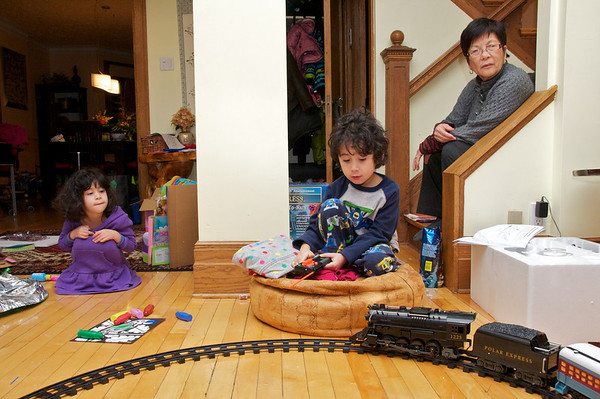 All aboard!  Cyane Jaden and Grandma Linda mesmerized by the train.