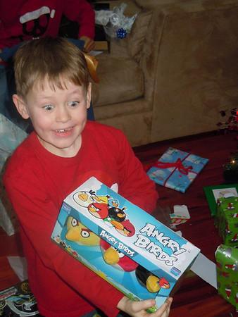 Aaron can't believe he got 3 Angry Birds!
