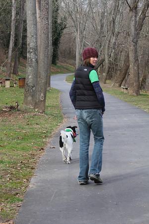 Bessie's first walk after returning to Asheville