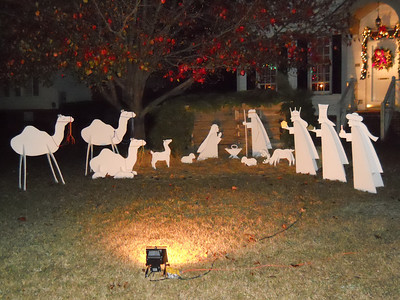New Addition this year.  Me and my youngest made this Nativity with own little hands.  Great Job Bryson, by chief painter.