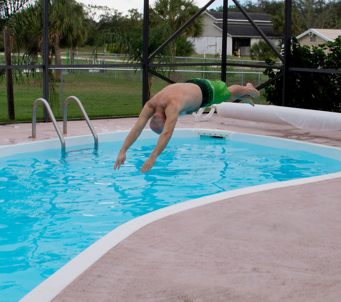 """Annual Christmas day swim - 80 degrees outside and water was a """"cool"""" 76 degrees (soory to all my northern friends but this is colf for us in Florida.  Darlene wont even get in the pool unless the water is at least 85 degrees."""
