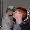 Zach kissing the worker at Duke Museum