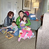 Staybridge Suites, Sunnyvale.   Tiffany and Hayden opening gifts from Su & Laurie.