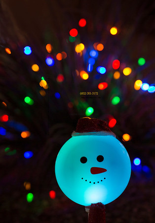 Don't be blue at Christmas!  Be Merry!   blue snowman lights behind E Ridge Creek 122813 3824