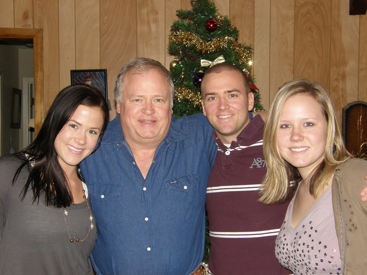 The Humphries Family all together!  Sarah, Dad (Ronnie), Luke, and Katie.  Merry Christmas!
