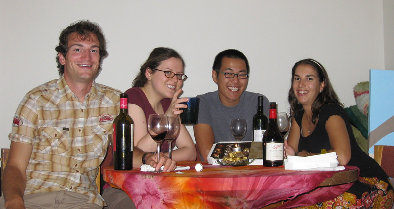 Christmas Eve eve dinner at Megan Andrew's apartment in Melbourne, with our new friend Ted (whom we met in Malaysia). Julie & Andrew whipped up a fantastic meal of yearling beef roast, potatoes & veggies and then Italian pantenone bread/cake + gelati for dessert. Oh and a few bottles wine from our wine tasting tours plus some chocolates. We were stuffed!
