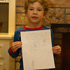 Showing off the finished letter to Santa