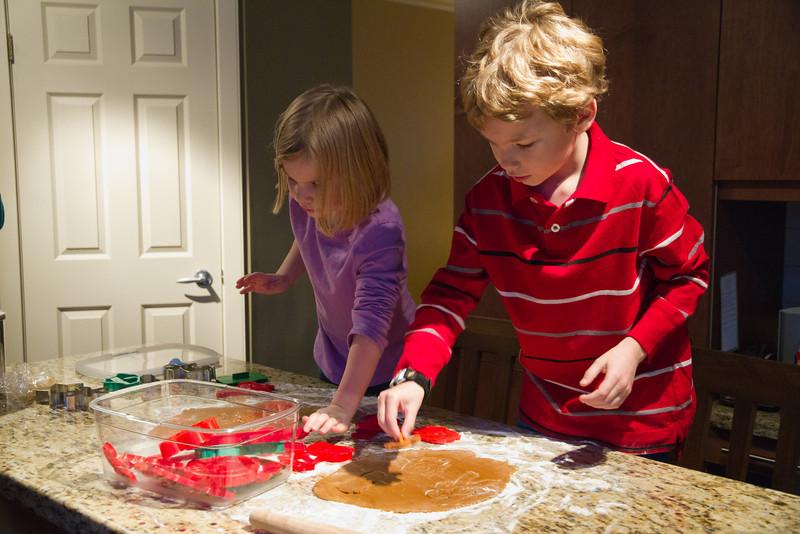 Making gingerbread cookies for Santa