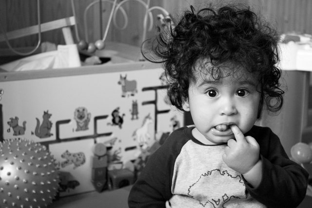 Jaden at day care, just before the holidays