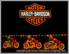 These decorations outside a Harley Davidson store have been combined with the Harley Davidson neon sign.