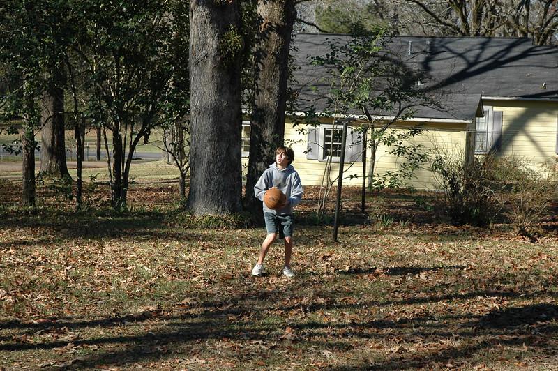 Cameron out shooting hoops Christmas morning
