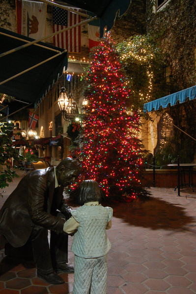Bronze Grandfather and grandchild with Christmas Tree