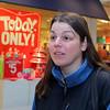 Shandren Harrington of Shirley talks about shopping on Monday at the Mall at Whitney Field. SENTINEL & ENTERPRISE/JOHN LOVE