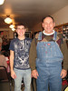 Spencer and Jack, modeling his new overalls