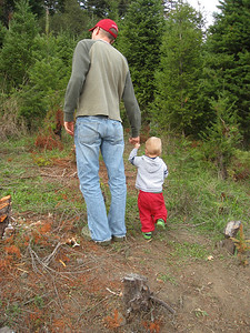 Don and Logan stomping around the forest.
