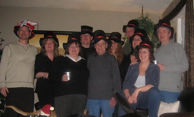 The gathering of the silly hat people after midnight