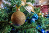 Blue and gold ornaments on the Rotary Club tree