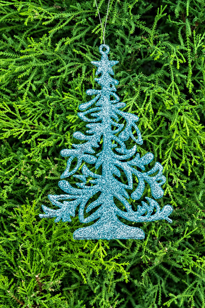Glittery tree ornaments