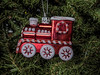 Tree ornament:  locomotive with candystripe details