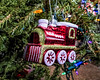 Christmas tree ornament;  locomotive with gold details